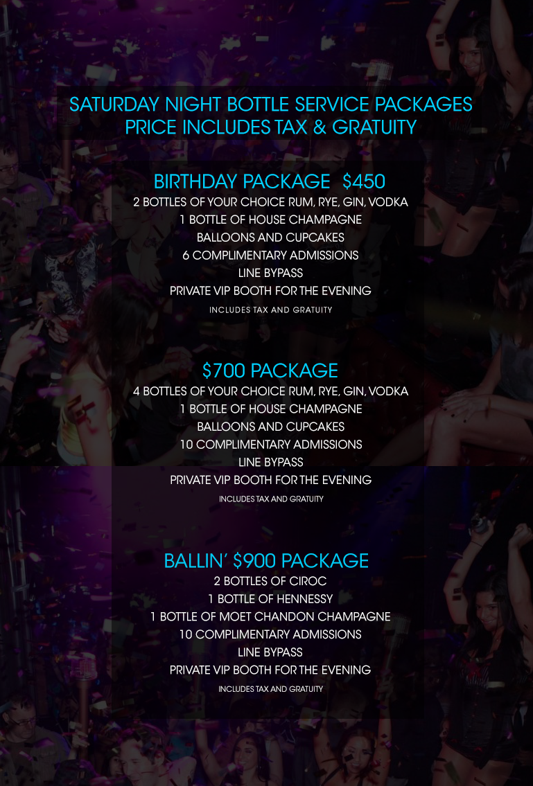 Club Se7en Bottle Service Menu